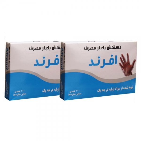 دستکش یکبار مصرف پلاستیکی بسته 2 عددی در دو سایز