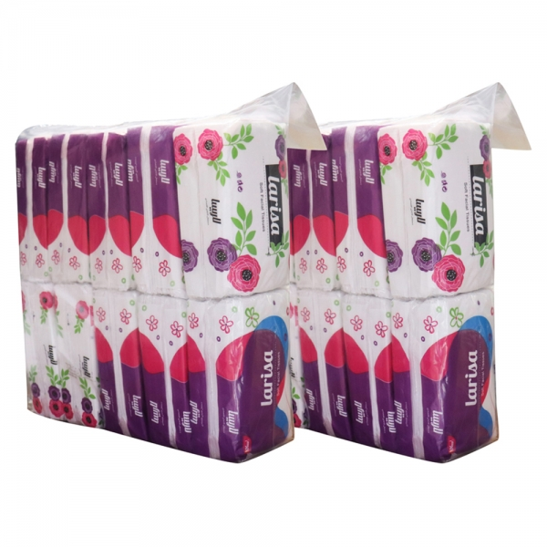 دستمال کاغذی 100 برگ لاریسا در پک های مختلف