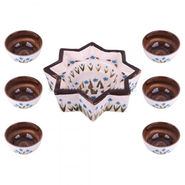 مجموعه ظروف هفت سین طرح گل آبی مدل 00 39